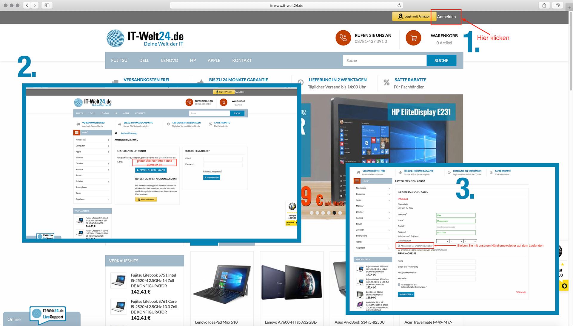 Fachhändler Registrierung für gebrauchte Remarketing Hardware